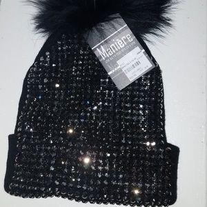 jet black ski hat with rhinestones
